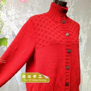 特别设计特别实用中老年棒针开衫毛衣