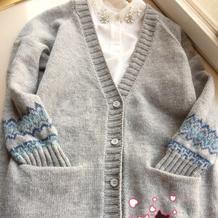 从上往下织文艺范女士棒针提花休闲开衫毛衣