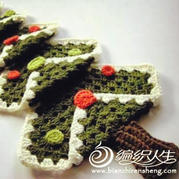 DIY圣诞挂件 祖母方格钩针圣诞树