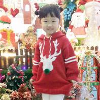 手工编织儿童圣诞毛主套装 Over size卫衣款毛衣+超柔天鹅绒打底裤