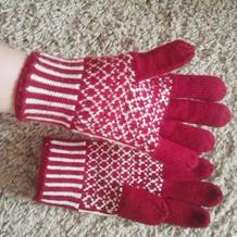 女士棒针费尔岛提花五指手套编织图解教程