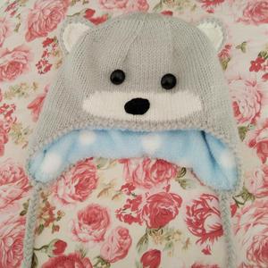 仿淘宝同款宝宝棒针小熊护耳帽