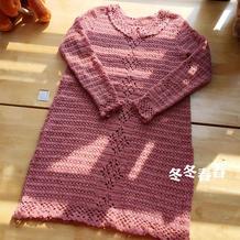 夏裙改秋冬款 女士钩针娃娃领长袖连衣裙