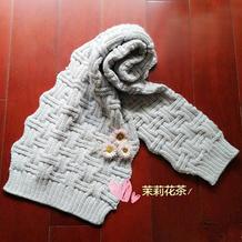 云舒银灰色棒针条纹格款围巾