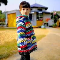 100-120cm儿童钩针刘亦菲同款镂空连帽开衫