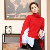 冬日的一抹红 新年正红色毛衣穿起来
