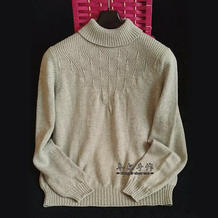 钻石之眼 女士棒针秋冬半高领丝毛绒打底毛衣