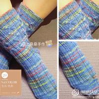 多彩明亮海蓝色棒针绞花纹毛线袜编织图解