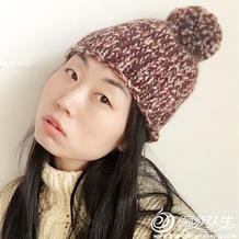 超粗冰岛线编织时尚保暖基础款棒针毛球帽