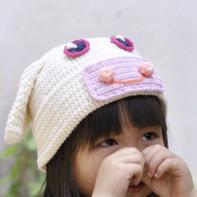 男女孩都合适的钩针幸福小猪帽子