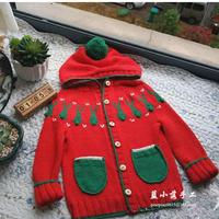 绿兔子 男女宝宝都适合的儿童棒针圆肩连帽开衫