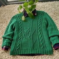 4股奶棉棒针编织男童猫头鹰毛衣