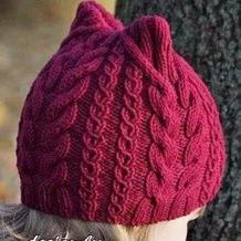 成人儿童都能戴的萌芽棒针猫耳帽