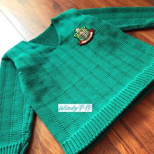 绿袖子 简洁款男童棒针鸡心领套头毛衣