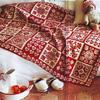 喜气洋洋红白双色提花棒针毯子花样图解