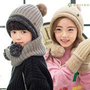 仿淘宝厚实保暖双层儿童棒针围脖帽子手套三件套