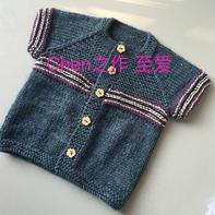 简单好织儿童棒针育克插肩短袖小开衫