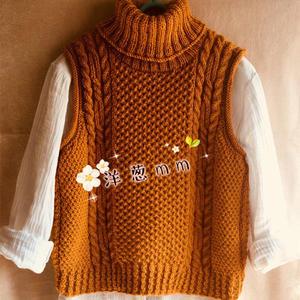 粗针织女士棒针姜黄色高领羊驼毛背心