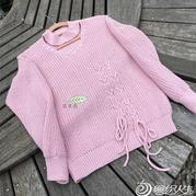 月光女神 韩版女士棒针元宝针系绳套头毛衣
