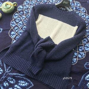 蓝色诱惑 仿大牌清爽时尚女士棒针撞色元宝套头毛衣