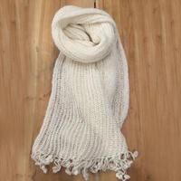 很美很仙女士钩织结合元宝针流苏围巾
