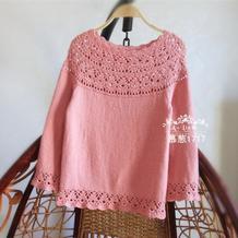 罗莎雪域绒女士七分袖钩织结合葱衣