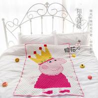 超cute小猪佩奇儿童钩针像素毯