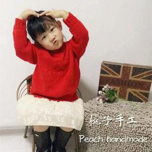 4股棉儿童心形图案棒针套头毛衣