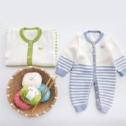 亲亲爬服 婴儿宝宝棒针开裆连体衣秒速赛车视频教程(2-1)