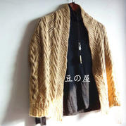 女士棒针羊毛披肩式外套开衫