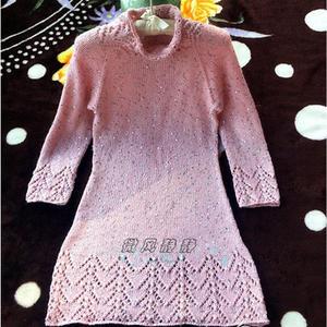 从上往下织女士棒针亮片A裙