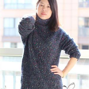 低眉 舒适保暖女士棒针大圈圈彩点毛衣