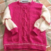 原创款女士棒针双色马海毛套头毛衣