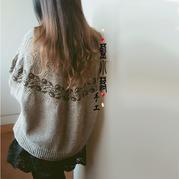 Plum李子 时尚慵懒风两面可穿仿外网女士棒针提花套头毛衣