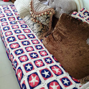 美国队长毯子改版沙发垫 钩针星形图案拼花毯