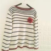 减龄款女士棒针船领条纹羊绒衫