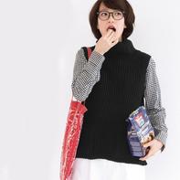 简洁时尚休闲女士棒针口袋背心