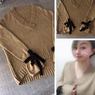 寻梦 浪漫主义风格女士棒针系带袖大V领毛衣