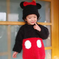 萌萌哒儿童棒针米妮套装(天鹅绒女童毛衣及帽子)