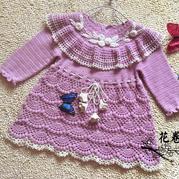 從上往下鉤公主風寶寶鉤針連衣裙