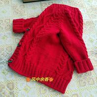 小苹果 4股棉仿淘宝款儿童棒针开衫外套毛衣