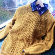 洋溢 经典休闲棒针男士羊绒毛衣
