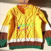 雨軒 4股棉編織男童棒針拼色麻花毛衣