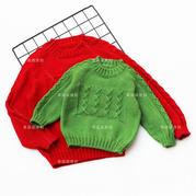 红了樱桃,绿了芭蕉 棒针马鞍肩儿童新年毛衣