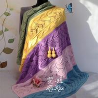 四股棉五色拼织棒针毛线毯(附葫芦的钩法)