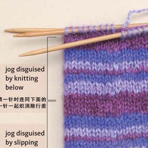 环织条纹毛衣时2种避免条纹错行的方法