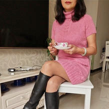 红粉知己 美丽优雅棒针高领短袖裙