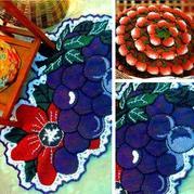 用毛线织出果香四溢 创意钩针葡萄草莓垫子