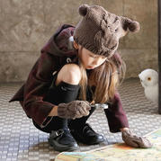 趣味可爱经典儿童棒针猫头鹰帽子手套图解