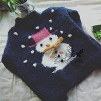 圈圈羊毛线儿童棒针雪人图案套头毛衣